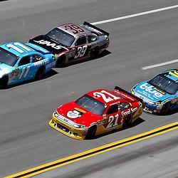 April 17, 2011; Talladega, AL, USA; NASCAR Sprint Cup Series driver Denny Hamlin (11) leads Trevor Bayne (21), Ryan Newman (39) and Greg Biffle (16) during the Aarons 499 at Talladega Superspeedway.   Mandatory Credit: Derick E. Hingle