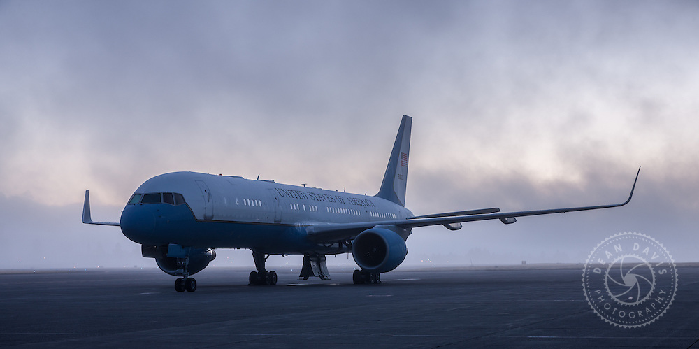 Airforce Two by Spokane Photographer Dean Davis: I made this image of Airforce Two for Associated Painters in the shadow of the control tower of Spokane International Airport. The foggy morning made for some extra drama.
