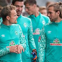 10.09.2020, Trainingsgelaende am wohninvest WESERSTADION - Platz 12, Bremen, GER, 1.FBL, Werder Bremen Training<br /> <br /> Gut gelaunt nach der Mental Stunde zum Training <br /> Simon Straudi (Werder Bremen #26)<br /> Niclas Füllkrug / Fuellkrug (Werder Bremen #11)<br /> Jiri Pavlenka (Werder Bremen #01)10)<br /> <br /> <br /> <br /> <br /> <br /> Foto © nordphoto / Kokenge