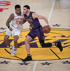 January 4, 2019 - Los Angeles, California, U.S - Trey Burke #23 of the New York Knicks defends against Lonzo Ball #2 of the Los Angeles Lakers during their NBA game on Friday January 4, 2019 at the Staples Center in Los Angeles, California. (Credit Image: © Prensa Internacional via ZUMA Wire)