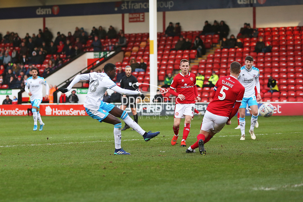 Panutche Camara scores a goal to make it 1-0 to Crawley Town and celebrates during the EFL Sky Bet League 2 match between Walsall and Crawley Town at the Banks's Stadium, Walsall, England on 18 January 2020.