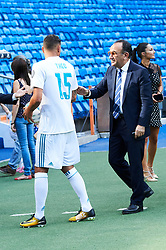 French defender Theo Hernandez signs up to play for Real Madrid. He was introduced into the team during an event held at Santiago Bernabeu stadium in Madrid, Spain. Theo Hernandez has signed for the next six seasons. 10 Jul 2017 Pictured: Adriana Pozueco, Theo Hernandez. Photo credit: Jack G / MEGA TheMegaAgency.com +1 888 505 6342