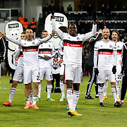 Besiktas's players celebrate victory during their Turkish Super League soccer match Istanbul Besiktas between Akhisar Belediyespor at the Basaksehir Fatih Terim Arena at Basaksehir in Istanbul Turkey on Sunday, 21 December 2014. Photo by Aykut AKICI/TURKPIX
