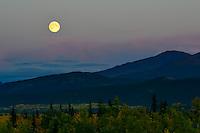 Moon rise over Yukon mountains