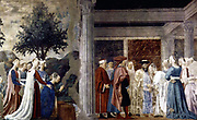 Piero Della Francesca (Sansepolcro, 1416-1417 -1492) . Adoration of the Holy Wood and the Meeting of Solomon and the Queen of Sheba c. 1452 Fresco, at San Francesco, Arezzo. ca. 1452
