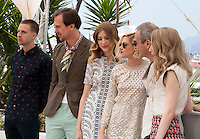 Anders Danielsen Lie, Lars Eidinger, Sigrid Bouaziz, Kristen Stewart, Olivier Assayas and Nora von Waldstatten at the Personal Shopper film photo call at the 69th Cannes Film Festival Tuesday 17th May 2016, Cannes, France. Photography: Doreen Kennedy