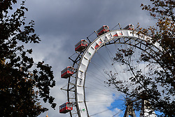The Riesenrad Ferris wheel at the entrance to the Prater amusement park in Vienna, Austria.