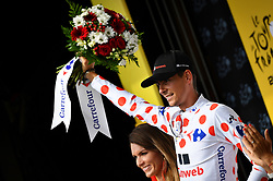 July 12, 2017 - Pau, FRANCE - French Warren Barguil of Team Sunweb celebrates on the podium in the red polka-dot jersey for best climber after the 11th stage of the 104th edition of the Tour de France cycling race, 203,5km from Eymet to Pau, France, Wednesday 12 July 2017. This year's Tour de France takes place from July first to July 23rd. BELGA PHOTO DAVID STOCKMAN (Credit Image: © David Stockman/Belga via ZUMA Press)