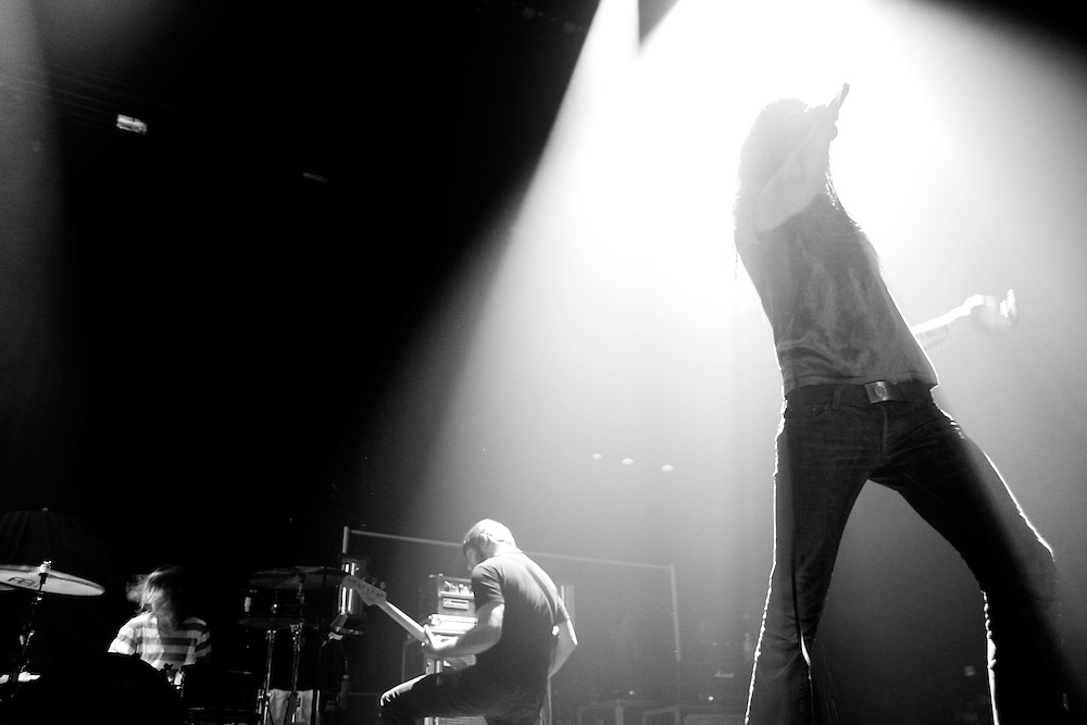 BIRMINGHAM, AL – FEBRUARY 25, 2007: Spencer Chamberlain, lead singer and frontman of the metalcore band Underoath, performs at Boutwell Auditorium.