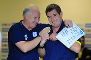 Cardiff City assistant manager Kevin Blackwell and Burton Albion manager Nigel Clough during the EFL Sky Bet Championship match between Burton Albion and Cardiff City at the Pirelli Stadium, Burton upon Trent, England on 5 August 2017. Photo by Richard Holmes.
