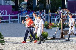 Schockemohle Paul, GER, Sato Eiken, JPN, Saito Koki, JPN, Houtzager Mark, NED<br /> Olympic Games Tokyo 2021<br /> © Hippo Foto - Dirk Caremans<br /> 04/08/2021