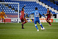 Peterborough United midfielder Siriki Dembele (10) lines up a shot during  the The FA Cup 2nd round match between Peterborough United and Bradford City at London Road, Peterborough, England on 1 December 2018.