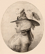 Mrs Maria Anne Fitzherbert (born Smythe - 1756-1837). Married the prince of Wales, 1785 (later George IV) and lived with him until 1803.  The marriage was declared illegal under the Royal Marriage Act 1772 as Mrs  Fitzherbert was a Roman Catholic, and George III's consent had no been sought. Engraving.