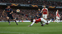 Arsenal's Ainsley Maitland-Niles with a low header back to Petr Cech <br /> <br /> Photographer Rob Newell/CameraSport<br /> <br /> UEFA Europa League Semi-final 1st Leg - Arsenal v Valencia - Thursday 2nd May 2019 - The Emirates - London<br />  <br /> World Copyright © 2018 CameraSport. All rights reserved. 43 Linden Ave. Countesthorpe. Leicester. England. LE8 5PG - Tel: +44 (0) 116 277 4147 - admin@camerasport.com - www.camerasport.com