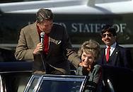 A 30 MG IMAGE OF:..President Reagan jokes with Nancy Reagan before boarding Marine One...Photo by Dennis Brack R F