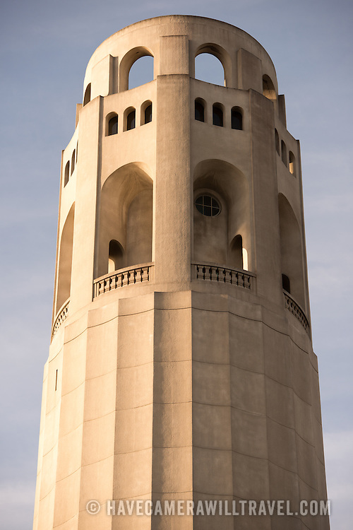 The top of Coit Tower on top of Telegraph Hill in San Francisco, California. The tower was built in 1933 from funds bequeathed by Lillie Hitchcocl Coit.