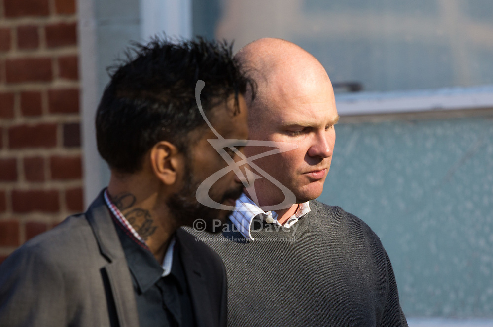 Ex-DHL workers Donald Marklew, 40, left, and Jeffrey Morton, 35, leave Uxbridge Magistrates Court after pleading guilty together wit Marklew's wife Amandip, 31, to stealing nearly 10,000 worth of perfume and jewellery from British Airways. Uxbridge, Middlesex, October 24 2018.
