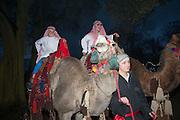 HUGO AND CHARLES ARRIVING ON CAMELS, Alice Manners 18th   birthday. Belvoir Castle, Grantham. 12 April 2013.