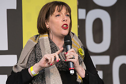 London, UK. 23rd March, 2019. Jess Phillips, Labour MP for Birmingham Yardley, addresses a million people taking part in a People's Vote rally in Parliament Square following a march from Park Lane.