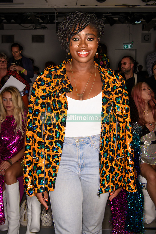 Clara Amfo on the front row during the Ashish Spring/Summer 2019 London Fashion Week show at the BFC show space, London. Picture date: Sunday September 16th, 2018. Photo credit should read: Matt Crossick/ EMPICS Entertainment.
