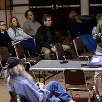 Grants Mining District acting coordinator Kevin Shade makes a presentation during an EPA meeting Thursday in Grants.
