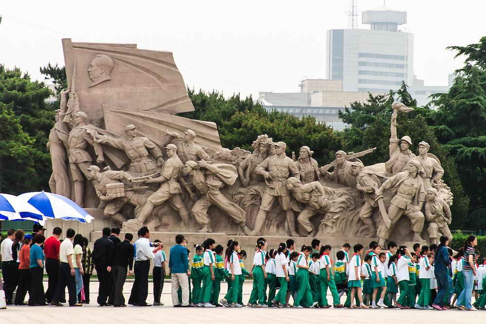 School children waiting in line to visit Chairman Mao Memorial Hall -