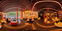 Bessa Hotel Lobby. 360 Degree Panorama View. Composite of 26 images from a Nikon D850 camera and 8-15 mm fisheye lens (ISO 1600, 15 mm, f/8, 1/60 sec). Raw images processed with Capture One Pro and the composite generated with AutoPano Giga Pro.