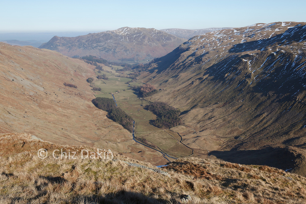 Looking down Grizedale valley from the lower slopes of Nethermost Pike East Ridge