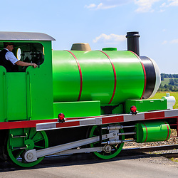 Strasburg, PA – June 19, 2016: Percy the Small Engine chugs toward the train station.