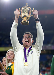 South Africa head coach Rassie Erasmus lifts the Webb Ellis Cup after the 2019 Rugby World Cup final match at Yokohama Stadium.
