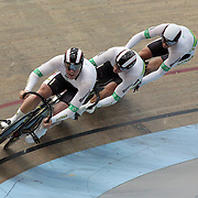 Australia Men Elite Sprint team of Dan Ellis, (front) Jason Niblett (centre) and Peter Lewis in action at the 2012 Oceania WHK Track Cycling Championships, Invercargill, New Zealand. 21st November 2011. Photo Tim Clayton