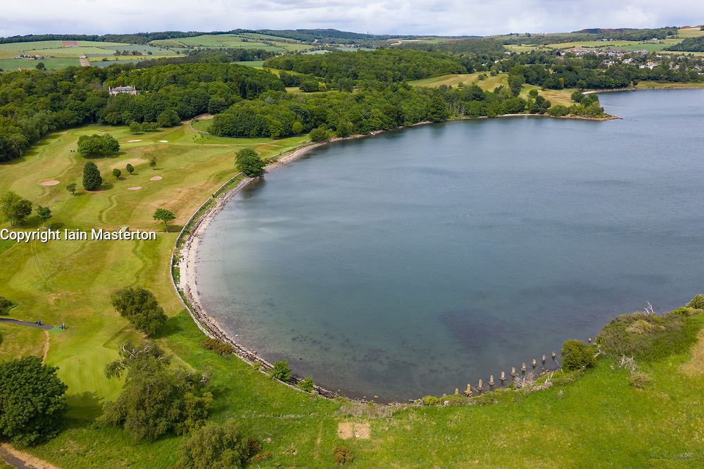 Aerial view of Aberdour Golf Course and and Barnhill Bay in Fife, Scotland, UK