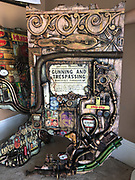 3-D found object art, outdoor wall panel © Julio Cepeda, visiting Cuban artist, West Reading, Berks Co., PA