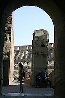 Archway in the Colosseum, Rome, Italy<br />