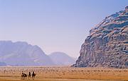 Beduin tribe members headed out across the Wadi Rum desert on camels - Jordan