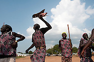 Southern Sudanese playing traditional music and dancing in the capital on the day before South Sudan declares independence from North Sudan..Juba, South Sudan. 08/07/2011..Photo © J.B. Russell