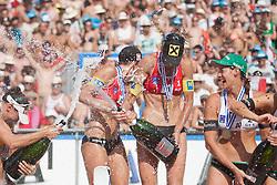 03.08.2013, Klagenfurt, Strandbad, AUT, A1 Beachvolleyball EM 2013, Finale Damen, Spiel 72, im Bild n.l.n.r.// Liliana FERNÁNDEZ STEINER 1 ESP, Doris Schwaiger 2 AUT, Stefanie Schwaiger 1 AUT, Kira Walkenhorst 2 GER, during Gold Medal Match match 72 of the A1 Beachvolleyball European Championship at the Strandbad Klagenfurt, Austria on 2013/08/03. EXPA Pictures © 2013, EXPA Pictures © 2013, PhotoCredit: EXPA/ Mag. Gert Steinthaler
