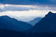 View of hills and ridges at dusk from Gothic Basin, Mount Baker-Snoqualmie National Forest, Washington.
