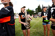 The Oregon Marching Band practices at the Calgary Christian School before their final competition in Alberta, Canada on July 13, 2011.
