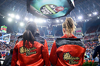 Cheerleaders waiting to jump to the parquet for a performance during Semi Finals match of 2017 King's Cup at Fernando Buesa Arena in Vitoria, Spain. February 18, 2017. (ALTERPHOTOS/BorjaB.Hojas)