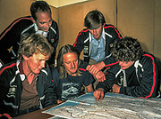1984 Australian Everest Expedition prior to departure from Sydney - Back row: Andi Henderson & Tim Macartney-Snape, Front Row: Greg Mortimer, Geoff Bartram, Lincoln Hall.