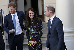 The Duke and Duchess of Cambridge and Prince Harry leaving the Institute of Contemporary Art in London where they outlined the next phase of their mental health Heads Together campaign.