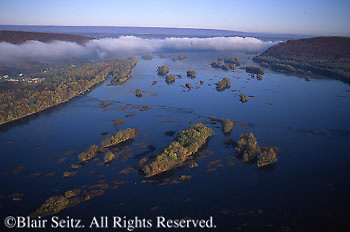 Southcentral Pennsylvania, Aerial Photographs, Susquehanna River, Islands, Fall Foliage, Dauphin Co. PA