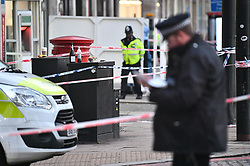 © Licensed to London News Pictures. 01/01/2019. London, UK. The scene in Park Lane after a man was found stabbed in a flat early on New Year's Day. Detectives have launched a murder investigation following his death. Two other men - aged 37 and 29 - and a 29-year-old woman were also found with stab injuries. They were treated at the scene before being taken to hospital; their injuries are not life threatening. Photo credit: Ben Cawthra/LNP