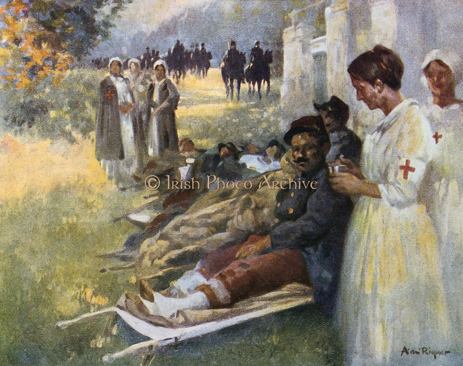 First Aid' : Wounded soldier and his nurse  at a dressing station during World War I in France, 1915. Alejandro de Riquer  (1856-1920) Spanish painter and draftsman.