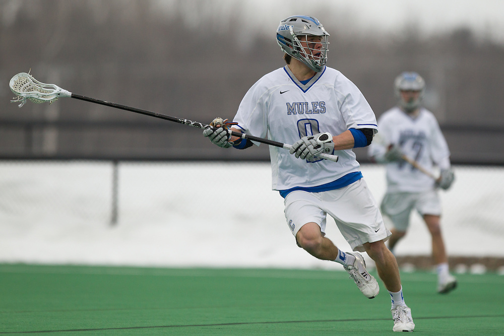 Colby College defenseman, Peter Willauer, during a NCAA Division III men's lacrosse game against at Gordon College on March 11, 2014 in Waterville, ME. (Dustin Satloff/Colby Athletics)