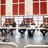 Navajo Nation Council Speaker Seth Damon and council delegates listen to community members testify to the impacts of uranium mining at a public forum Friday, March 6 at Navajo Technical University in Crownpoint.