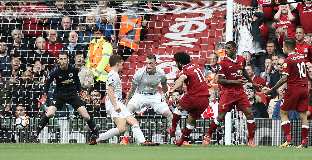 Liverpool's Mohamed Salah shoots wide from close range during the first half<br /> <br /> Photographer Rich Linley/CameraSport<br /> <br /> The Premier League - Liverpool v Manchester United - Saturday 14th October 2017 - Anfield - Liverpool<br /> <br /> World Copyright © 2017 CameraSport. All rights reserved. 43 Linden Ave. Countesthorpe. Leicester. England. LE8 5PG - Tel: +44 (0) 116 277 4147 - admin@camerasport.com - www.camerasport.com