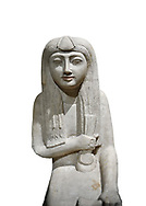 """Ancient Egyptian statue of Hel, limestone, New Kingdom, late 18th Dynasty, (1320-1280 BC), Saqqara. Egyptian Museum, Turin. white background.<br /> <br /> The women is seated on a cushioned stool. On her head is a lotus flower. In her left hand she holds a cloth in her right a counterweight for a meant necklace, a ritual instrument used in the cult of the goddess Hathor. the statue probably stood in a tomb in Saqqara necropolis of Memphis, where the Egyptian eletes of the time had splendid tombs with statues of s similar style. The inscription evokes the deceased """"everything that comes forth in the presence of the gods of Memphis for Osiris, the lady of Hel..."""" .<br /> <br /> If you prefer to buy from our ALAMY PHOTO LIBRARY  Collection visit : https://www.alamy.com/portfolio/paul-williams-funkystock/ancient-egyptian-art-artefacts.html  . Type -   Turin   - into the LOWER SEARCH WITHIN GALLERY box. Refine search by adding background colour, subject etc<br /> <br /> Visit our ANCIENT WORLD PHOTO COLLECTIONS for more photos to download or buy as wall art prints https://funkystock.photoshelter.com/gallery-collection/Ancient-World-Art-Antiquities-Historic-Sites-Pictures-Images-of/C00006u26yqSkDOM"""
