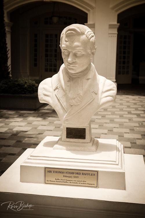 Marble statue of Sir Thomas Stamford Raffles (founder of modern Singapore) at the Raffles Hotel, Singapore, Republic of Singapore